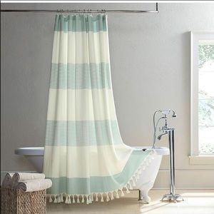 "Ugg Napa shower curtain blue white stripe 72"""